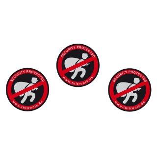 "Warnaufkleber ""security protected"" 3er Set"